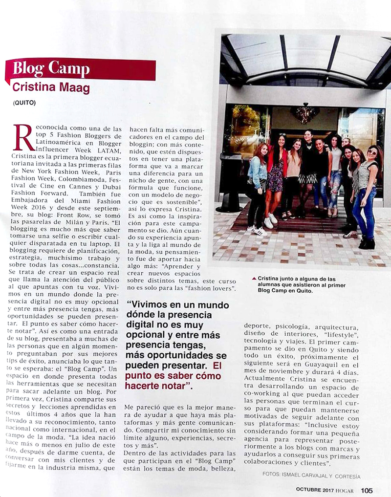 Front Row - Revista Hogar - Blog Camp
